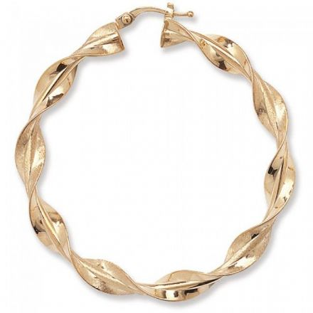 Just Gold Earrings -9Ct Twisted Hoop, ER663